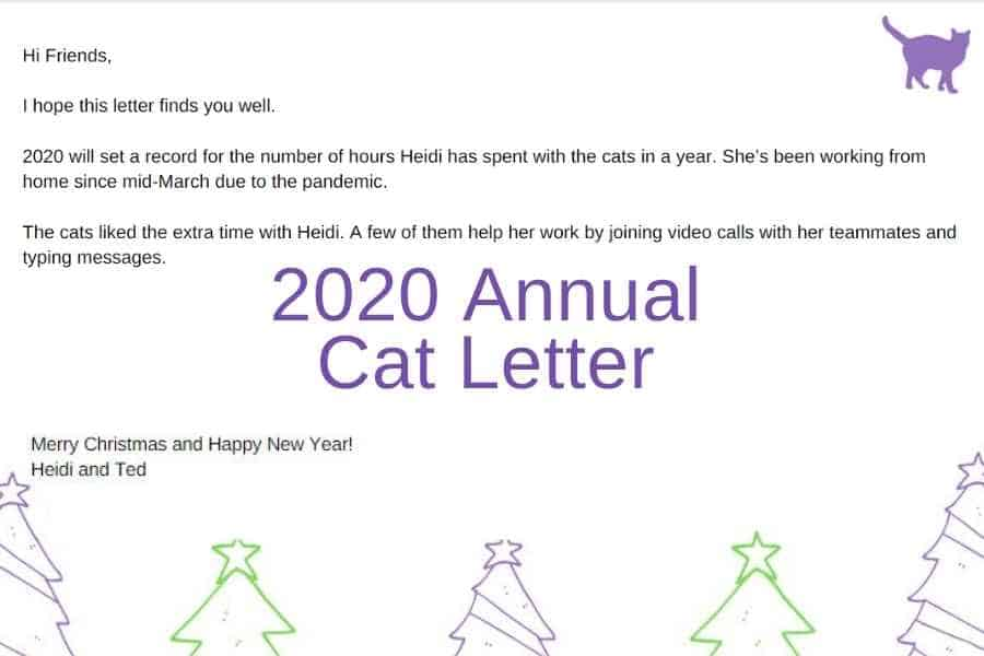 screen shot of part of the annual cat letter